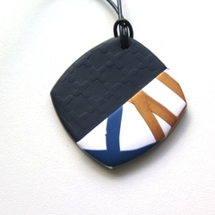 Nautical cross navy gold and white polymer pendant necklace