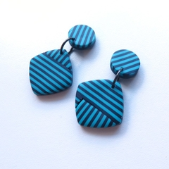 Stripe navy blue turquoise polymer clay earrings