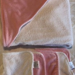INCL POST Baby Pink Minky Hooded Towel Set in Bamboo & Polyester