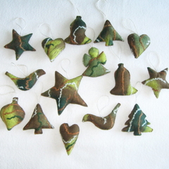 15 Felted Christmas Decorations Green Brown
