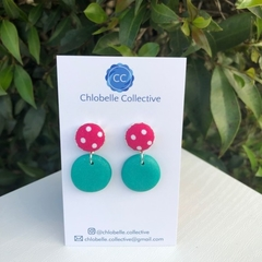 Small fabric and clay round dangles - pink polka and teal