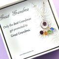 Great Grandma Gift, Birthstone Necklace