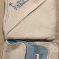 Blue Giraffe Family Hooded Towel with Bamboo Terry Cloth