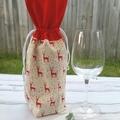 Christmas Wine Gift Bag | Scandi Red Deer | Zero Waste | Free Shipping