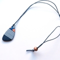 Nautical stripe navy gold and white freeform polymer pendant necklace