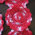 Hand Crocheted Large Doily and Twelve Coasters in Red and White