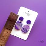 Azalea Lane AU - Purple Marble (Oval dangles)