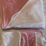 Baby Pink Minky Hooded Towel Set in Bamboo & Polyester Terry Cloth