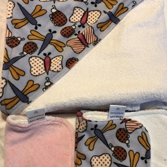 INCL POST Butterfly Minky Hooded Baby Towel in Bamboo & Poly Terry Cloth