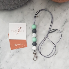 Marble Mint Lanyard w. Silver Clip