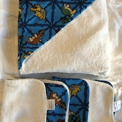 Blue Dinosaur Hooded Baby Towel Set with Bamboo & Poly Terry Cloth