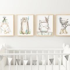 Boho Woodland Nursery Art Print, Set of 4, Fox, Bear, Owl, Raccoon Nursery Decor