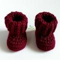 Burgundy Newborn Crochet Baby Booties Shoes Socks Pregnancy Baby Reveal