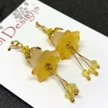 Lemon Yellow and white Flower Earrings