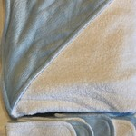 INCL POST Baby Blue Minky Hooded Towel in Bamboo and Polyester Terry Cloth
