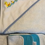 Duck Family Embroidered Hooded Towel with Bamboo & Org Cotton Terry Cloth