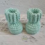 Mint Newborn Crochet Baby Booties Shoes Socks Pregnancy Baby Reveal