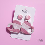 Azalea Lane AU - Pink stripes (large heart dangle)