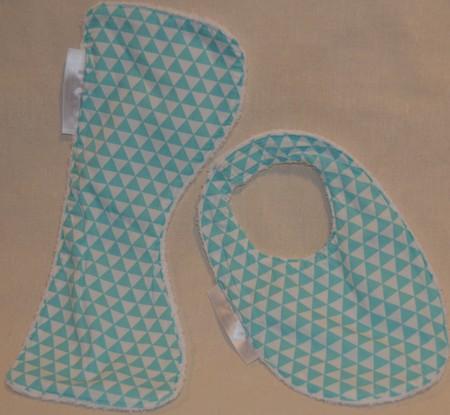 Small Burp Cloth & Bib Set INCL. POST Bamboo Terry  & 100% Cotton Print Fabric