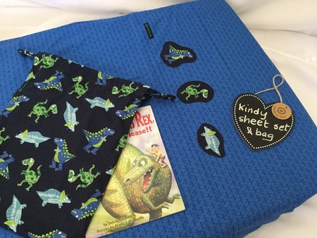 Kindy Sheet Set 'NAVY BLUE DINOSAURS' with Optional Kindy Hand Washers