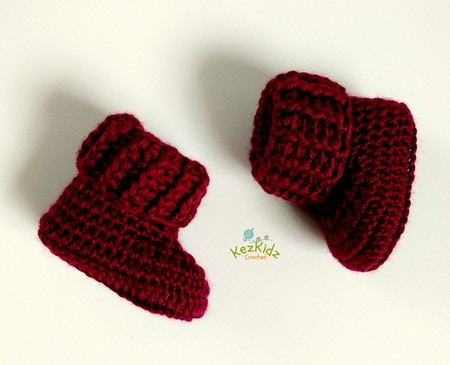 Burgundy Newborn Crochet Baby Booties Shoes Socks Pregnancy Baby Reveal