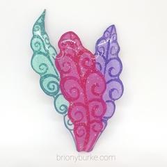 Custom Listing for Amanda - Wonderland Inspired Glitter Leaves Brooch