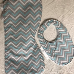 INCL POST Large Burp Cloth & Bib Set Bamboo Terry  & 100% Cotton Print Fabric