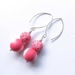 Large Coral crackle drop sterling and polymer clay earrings