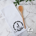 Family Name Tea Towel with Green Laurels 100 % Cotton