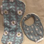 Large Burp Cloth and  Bib Set in Bamboo & Poly Terry Cloth and Cotton Print