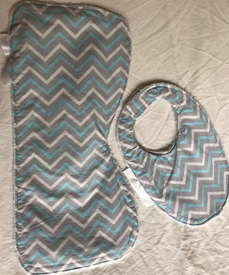 INCL POST Large Burp Cloth & Bib Set Bamboo Terry  & 100% Cotton Print Fabric
