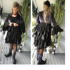Stevie Nicks Style Victorian Coat Gunmetal/Black - OOAK Size 12