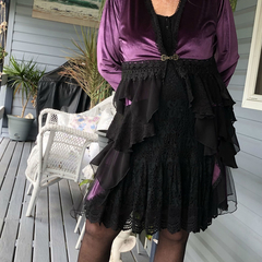 Stevie Nicks Style Victorian Coat Purple/Black - Size 14 - 16