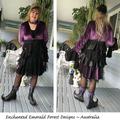 Stevie Nicks Style Victorian Coat Purple/Black - Size 14 - 16