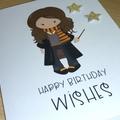 Girl wizard Happy Birthday card - Hermione fans - handmade greeting card