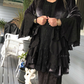 Stevie Nicks Style Victorian Coat Gunmetal/Black - OOAK Size 12