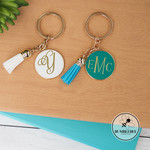 White Medium Gold & Enamel Circle Monogram Key Ring * Xmas Gift * Kris Kringle *