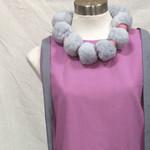 Purple shift dress size 8-10 - pompom necklace grey trim random OOAK