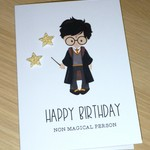 Harry Potter fans Happy Birthday card - magical wizard - handmade greeting card