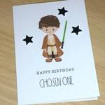 Star Wars fans Happy Birthday card - cute Jedi - handmade greeting card