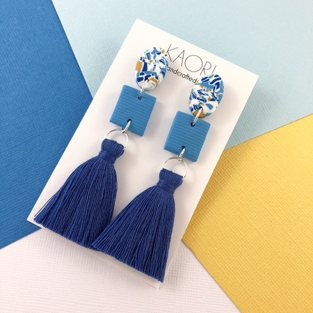 Polymer clay earrings, statement tassel earrings in blue and yellow