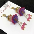 Pink & Blue Flower Earrings