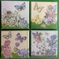 Set of Four 'Garden Fairies' Mixed Media Canvases