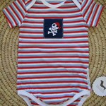 Pirate short sleeve onesie blue white and red