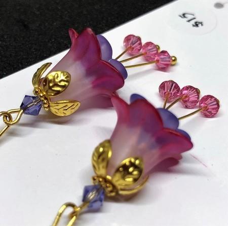 Pink & Blue Flower Earrings