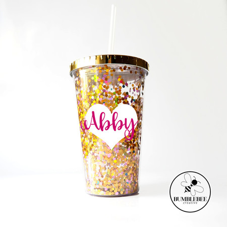Sparkly Glitter Cup with Double Layer Name sticker