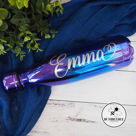 Silver Glitter Name on Oil Slick Purple Blue Drink Bottle