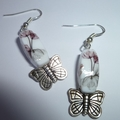 Glass and  butterfly earrings