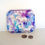 Satin coin purse with unicorn