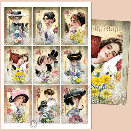 Harrison Fisher Postcards ATCs Printables 1